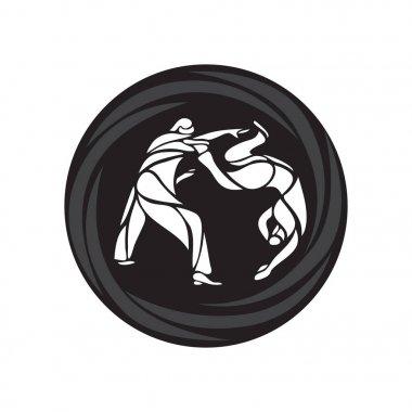Judo fighters round pictogram or logo. Martial arts icon