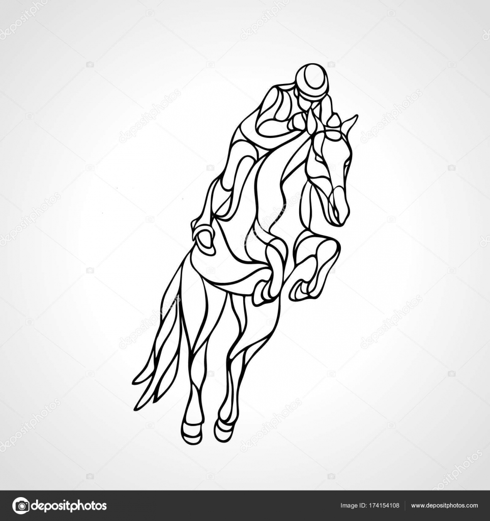 Horse Race Equestrian Sport Outline Silhouette Of Racing With Jockey On Isolated Background And Rider