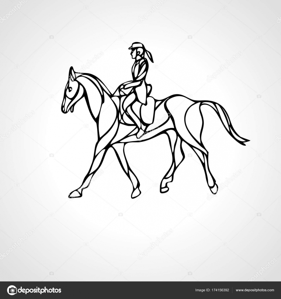 Horse Race Equestrian Sport Silhouette Of Racing With Jockey Stock Vector