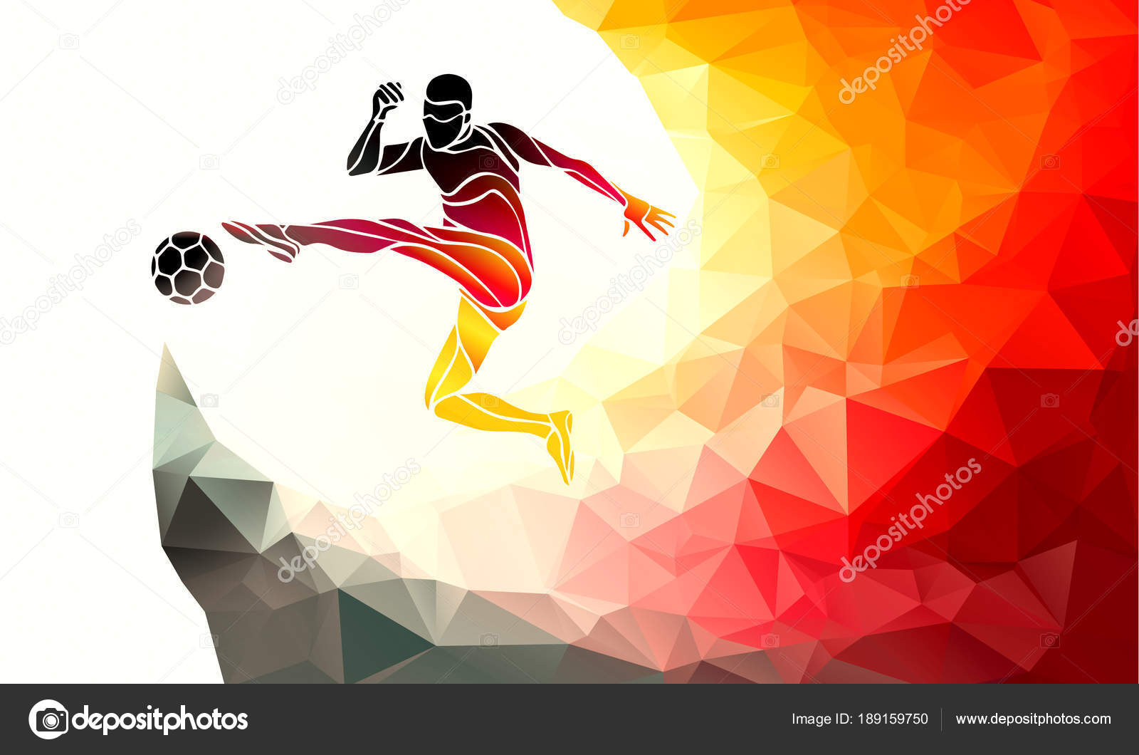 Fußballer kickt den Ball in den Farben der deutschen Flagge. Fußball ...