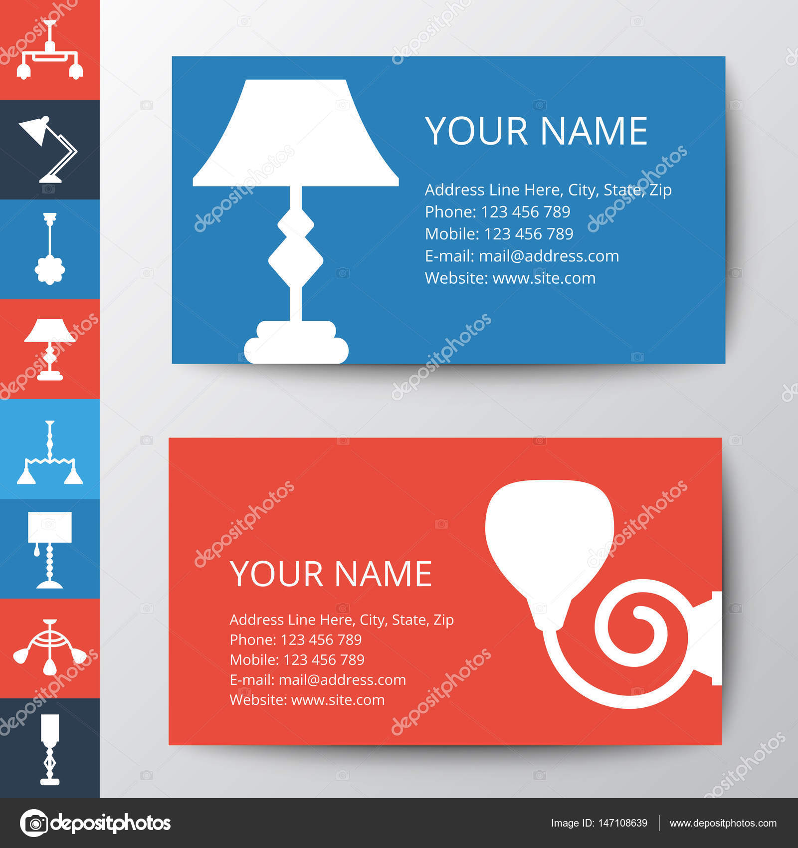 Business card template with lamp stock vector marinamandarina business card template with lamp lamp icon vector set template for style design vector by marinamandarina reheart Gallery