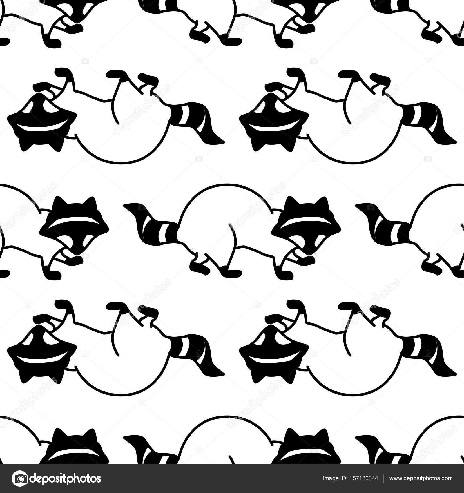 Patrón sin fisuras con el mapache — Archivo Imágenes Vectoriales ...