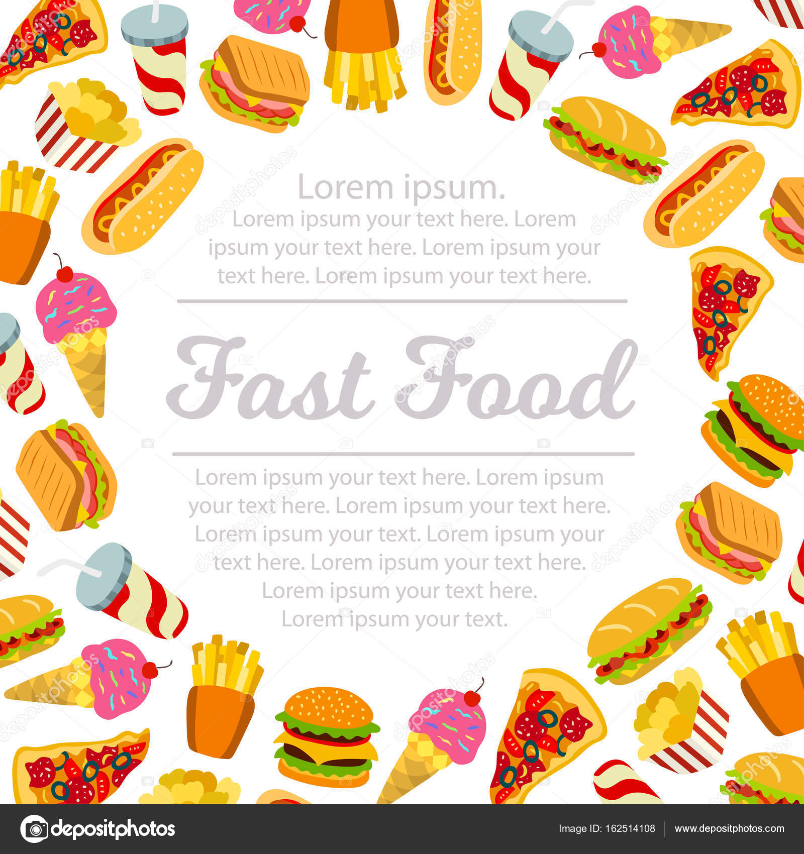 Fast Food Vector Frame. — Stock Vector © Marina_Mandarina #162514108