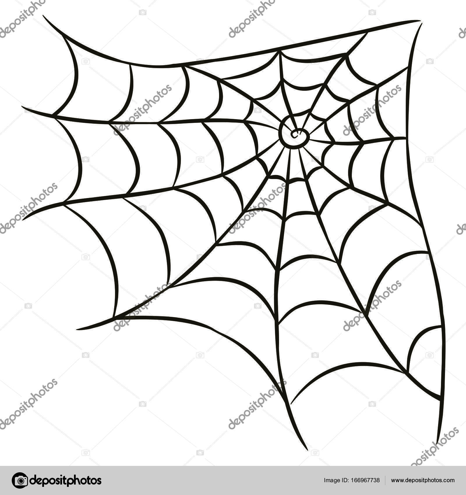 Halloween Black Spider Web Isolated On White Background Stock