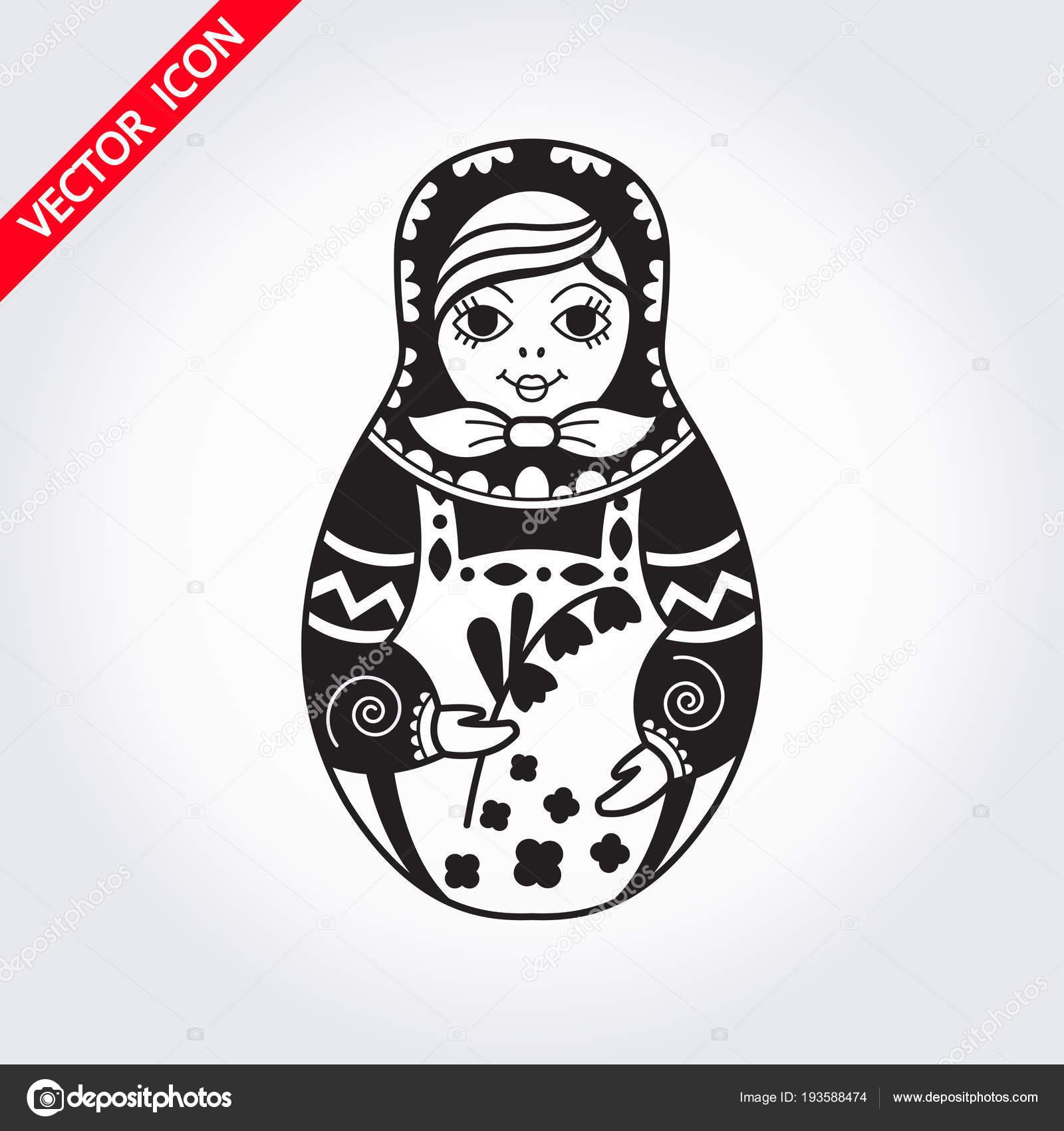 Russian Traditional Nested Doll Matryoshka Symbol Of Russia
