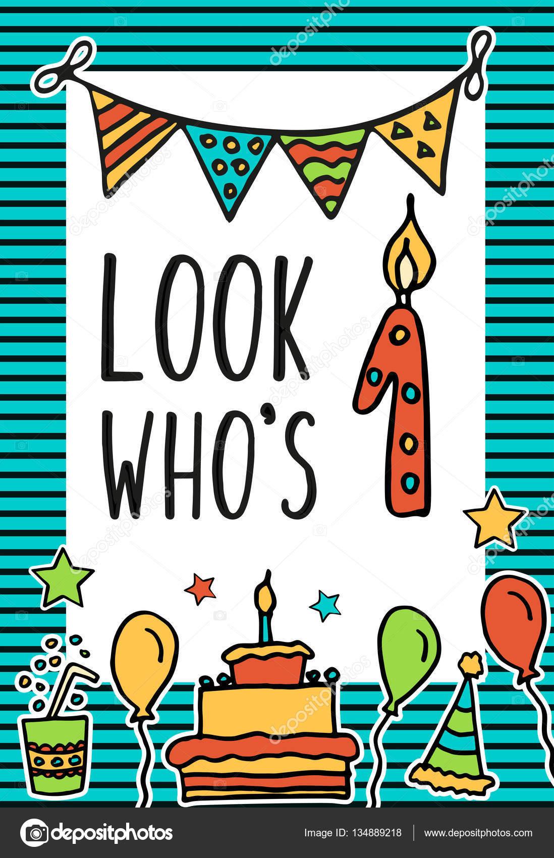 Niños de cumpleaños vector tarjeta con velas pintados de colores ...