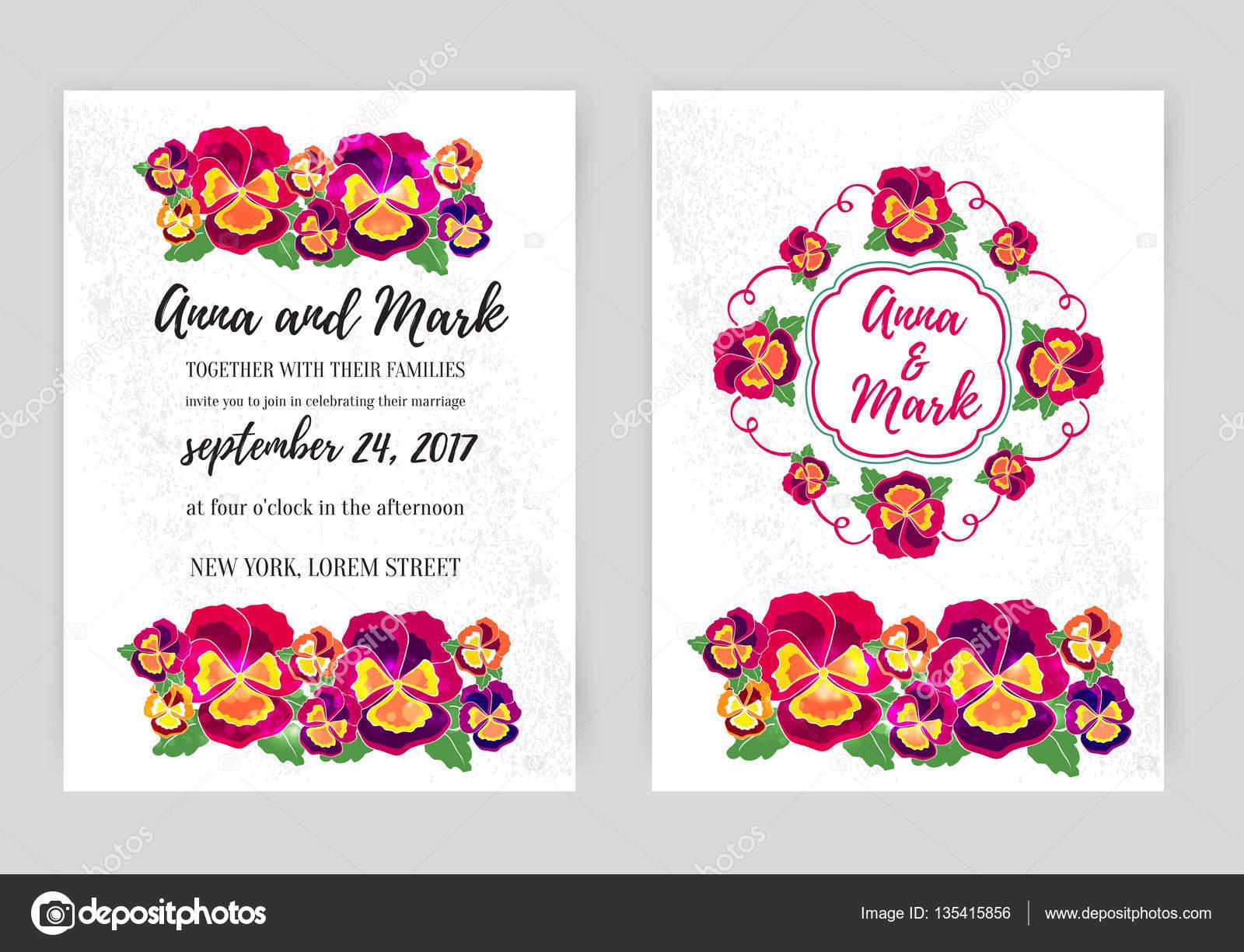 Vector set of floral wedding invitations. Design for invitation ...
