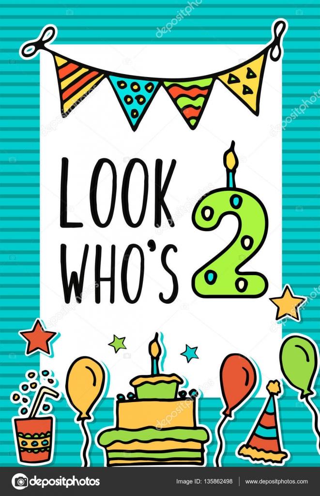 Tarjetas De Cumpleaños Para Niños De Dos Años Niños De