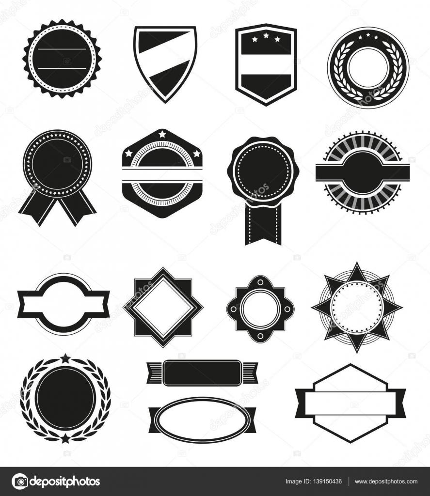 Gran juego de vector silueta negra marcos o formas para logos ...