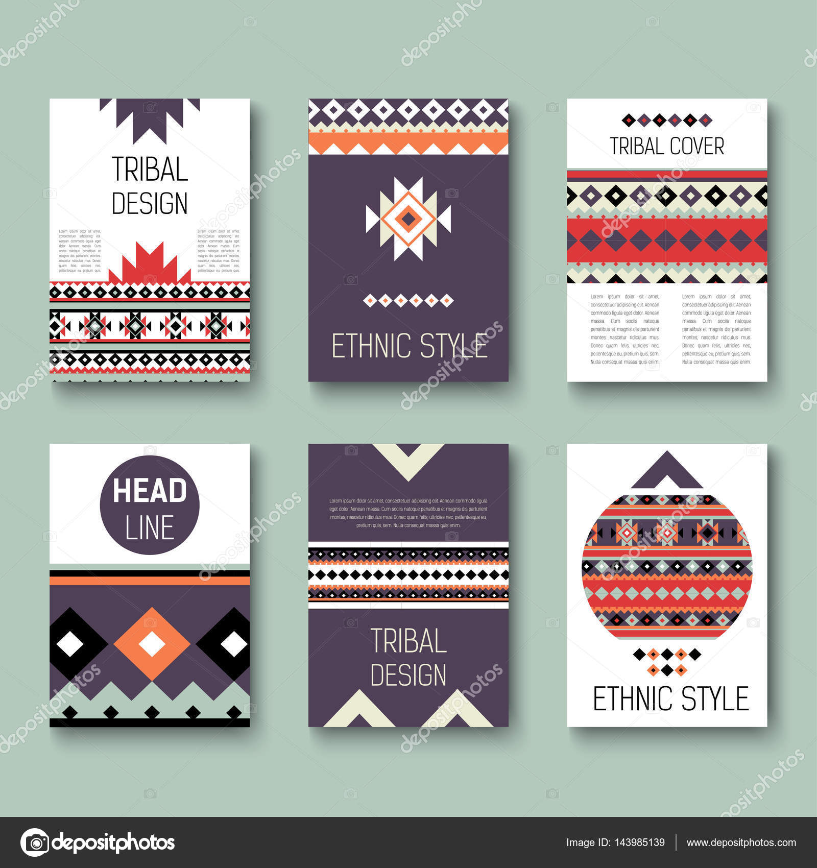 set of geometric abstract colorful flyers ethnic style brochure templates collection of modern tribal - Colorful Brochure Templates