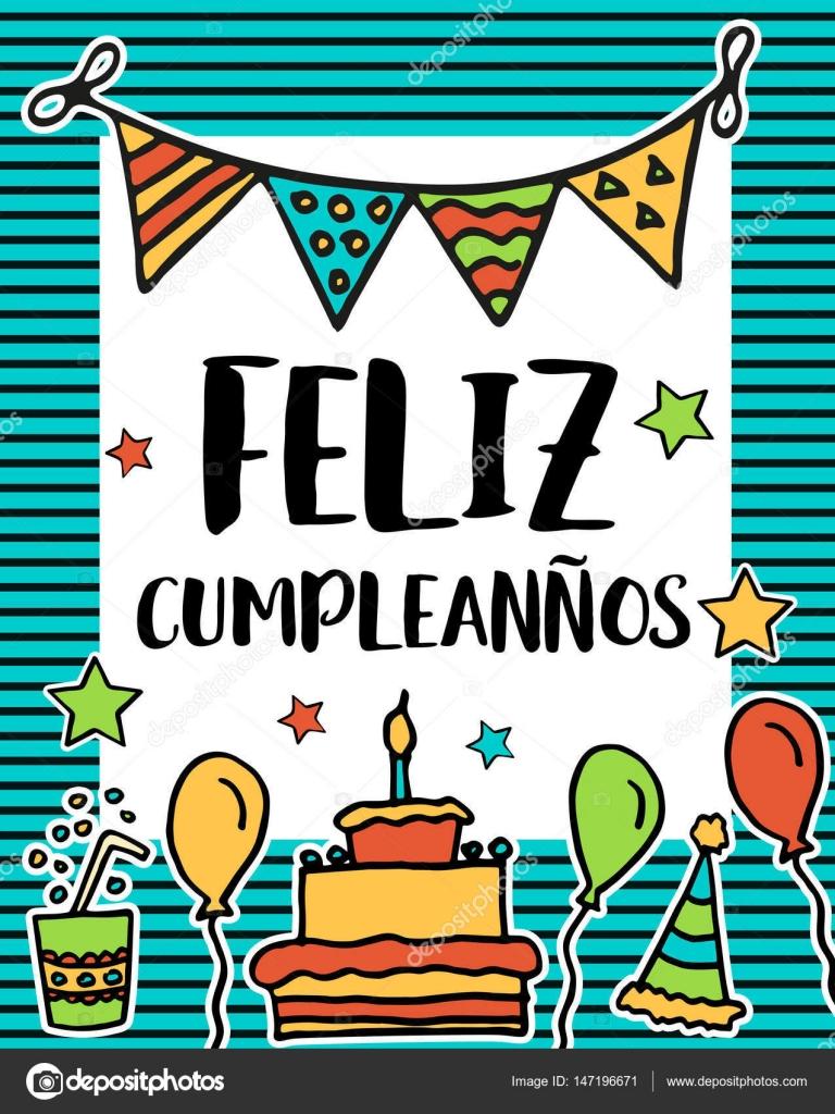 Feliz Cumpleanos Gelukkige Verjaardag In De Spaanse Taal Poster