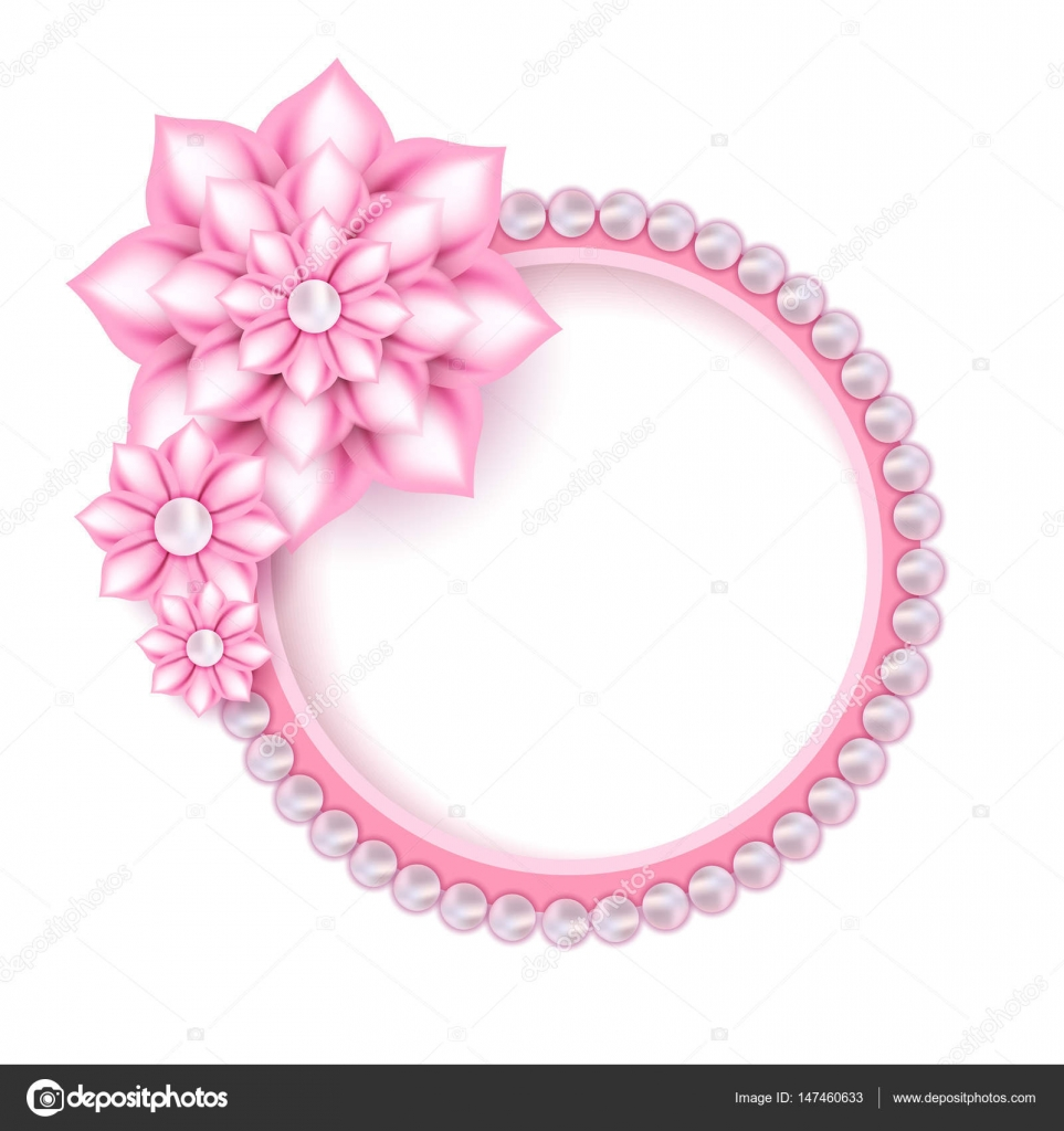 Schmuck rosa Perle Rahmen für Foto — Stockvektor © Peliken #147460633