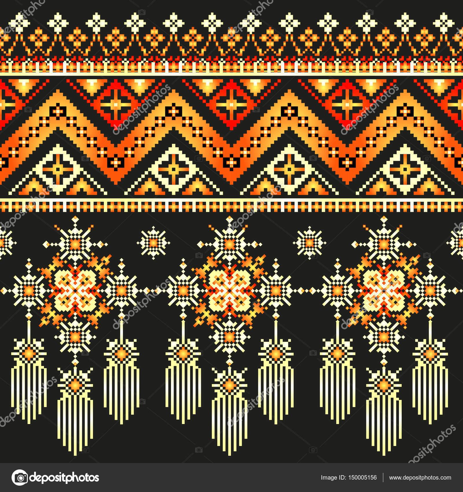 Bordado de patrón pixel étnica, folk diseño tribal — Vector de stock ...
