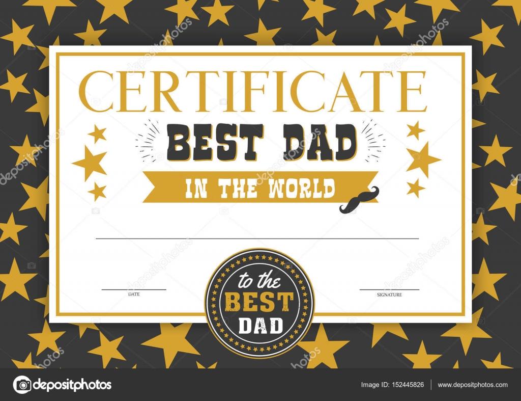 best dad in the world certificate stock vector peliken 152445826