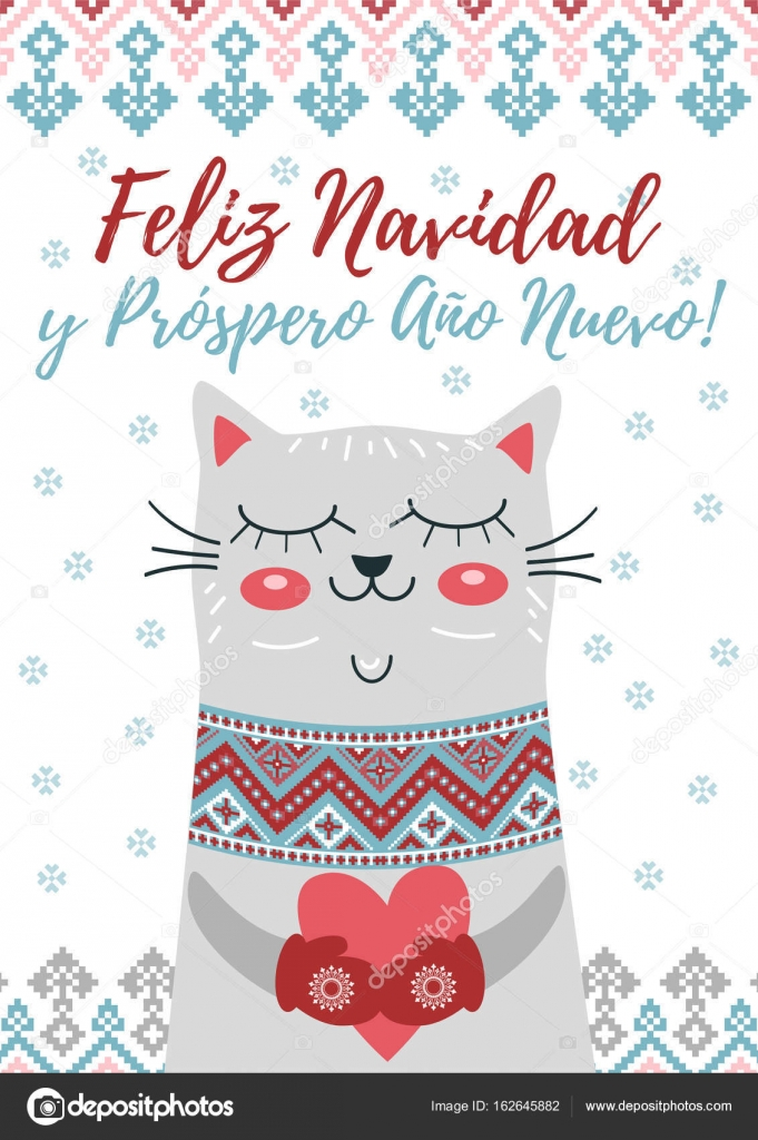 Happy christmas and happy new year in spanish language stock happy christmas and happy new year in spanish language greeting card with cute cat snowflakes and winter ornament vector holiday poster vector by m4hsunfo