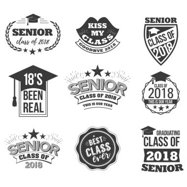 The set of black colored senior text signs with the Graduation Cap