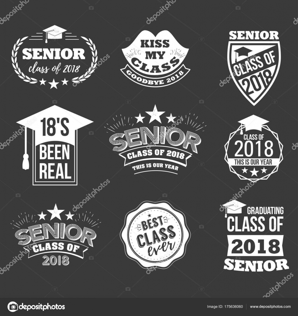 logo badges and cute funny labels for graduating senior class 2018