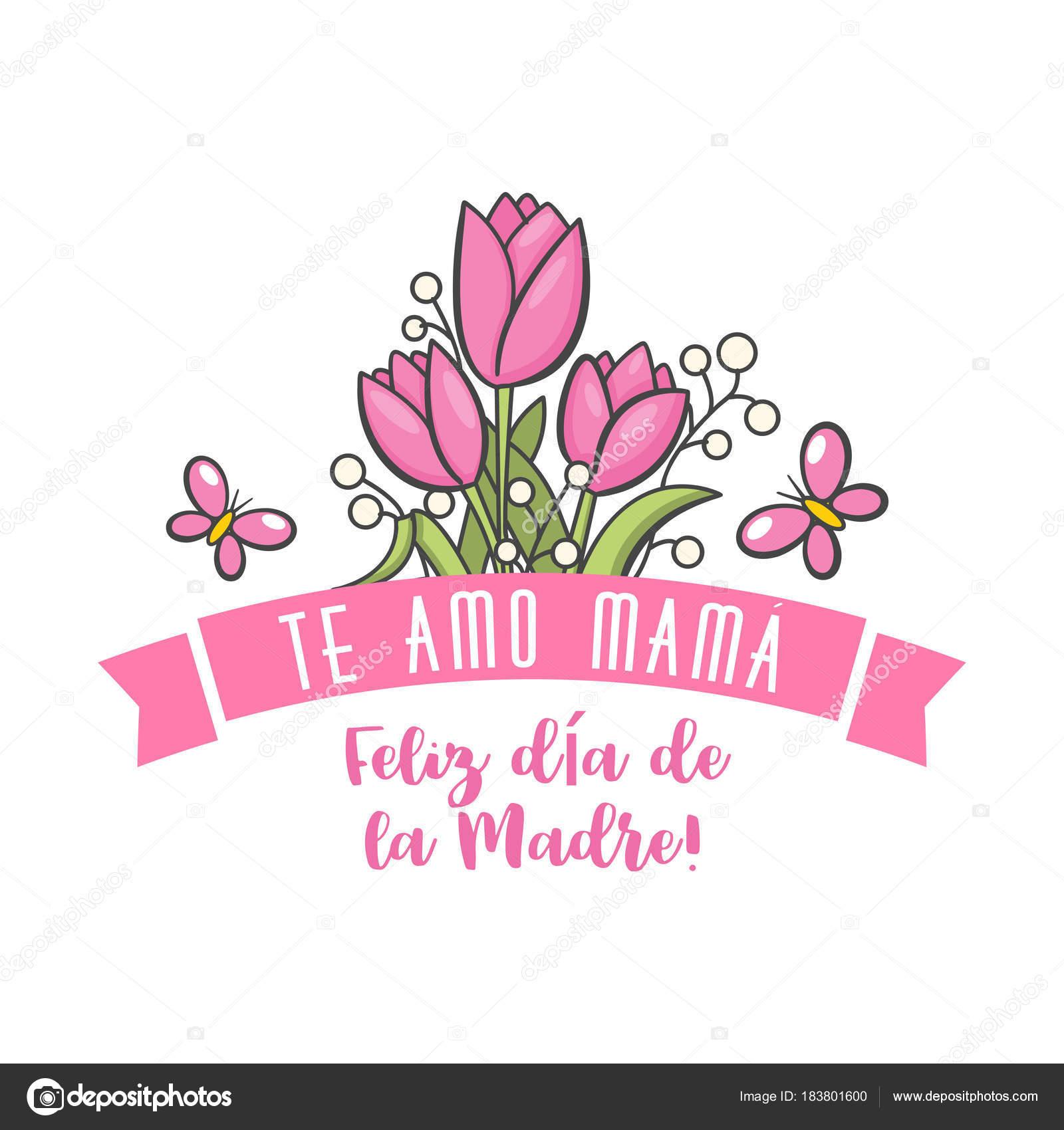 1d00f8c2996c8 Saudação de dia de mãe espanhola. Mensagem de floral doce com desejos de  felizes, cartão para expressar minha gratidão, amor e reverência de belas  férias.