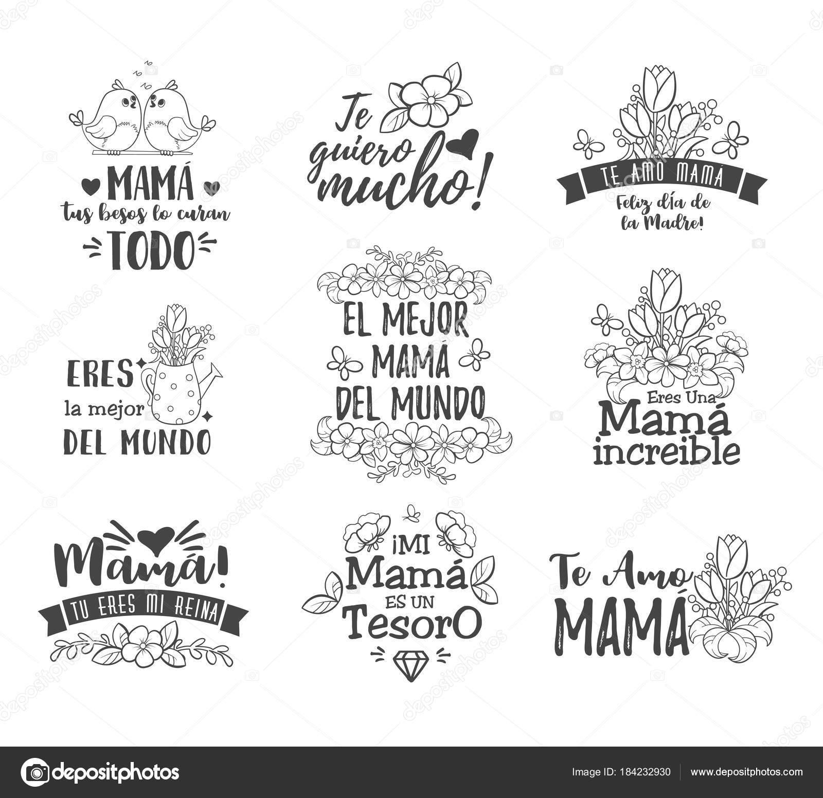 c02e03c7a19dc Espanhol das mães distintivos de Saudações do dia. Mensagem de sobreposição  floral doce com desejos de felizes, cartão para expressar minha gratidão,  ...