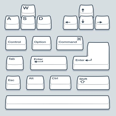 Line Art Keyboard Keys in Isometric View