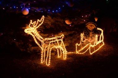 Christmas lights of the evening city