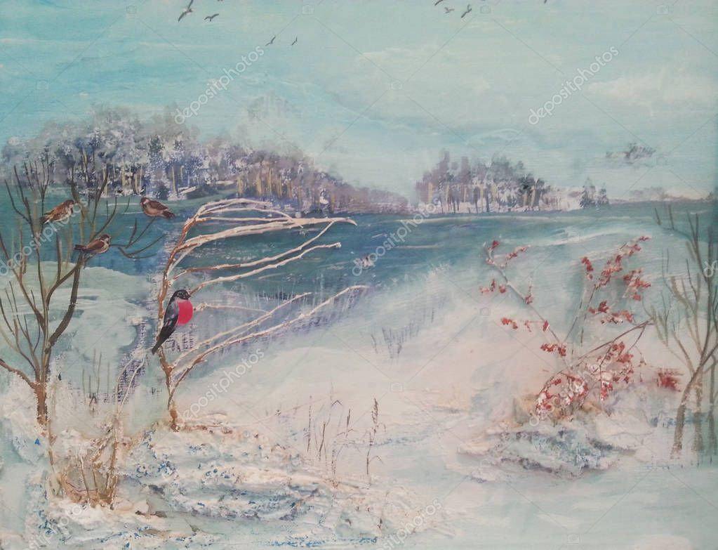 Oil painting, winter trees, river and birds