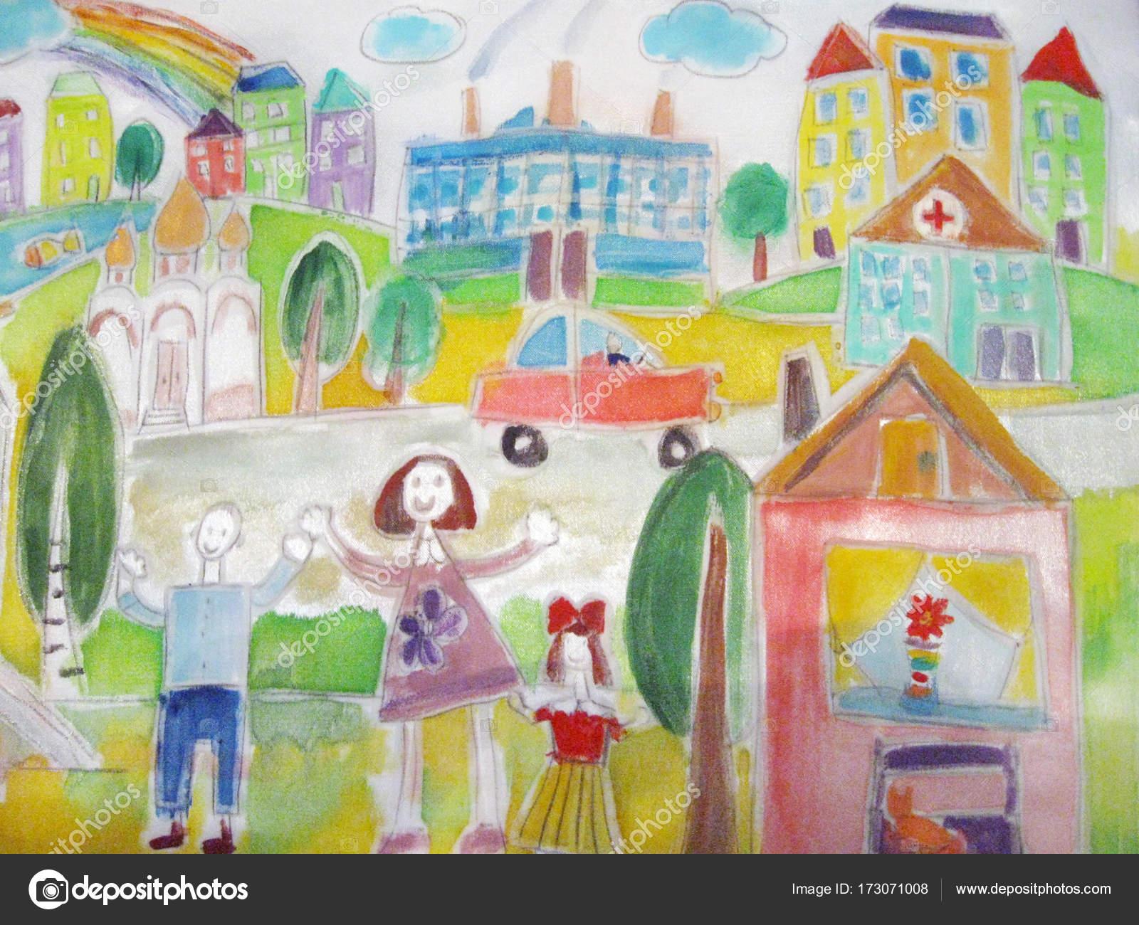 Kinder Zeichnung von die glückliche Familie auf einen Spaziergang ...