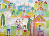 Childs drawing of the happy family on a walk and cars.