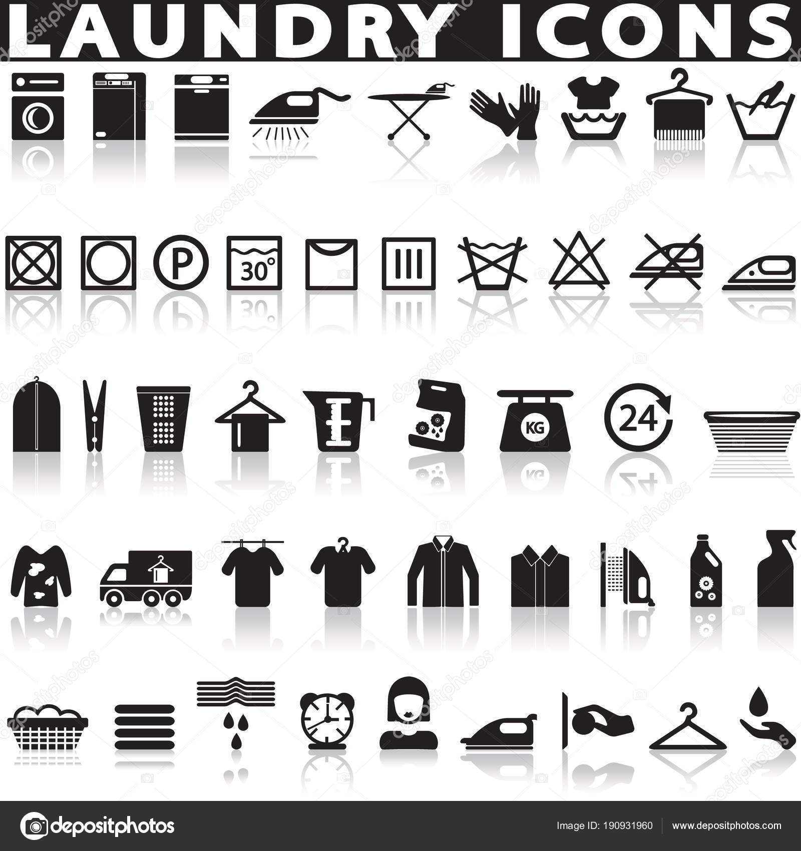 laundry washing icons white background shadow stock vector