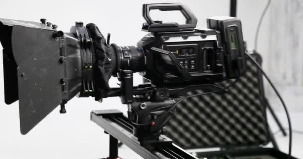 Professional movie camera. Backstage cinema production. Filming and filmmaking. Professional film equipment. Camera on the set of the film. Movie camera