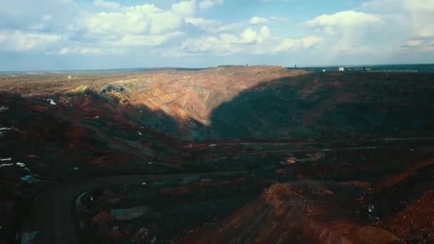 Otevřená jáma těžby železné rudy.