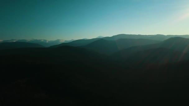 Hory západ slunce Vysočina letecké fotografie pro video 4K.