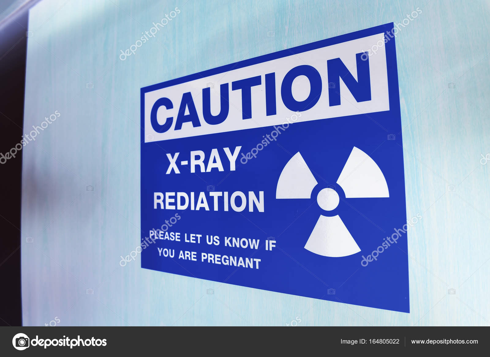 Symbol Of Radioactivity And Radiation From X Ray Machine Stock