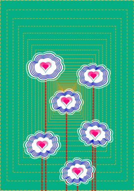 Flowers with hearts, background-postcard, print for Valentine's day on February 14