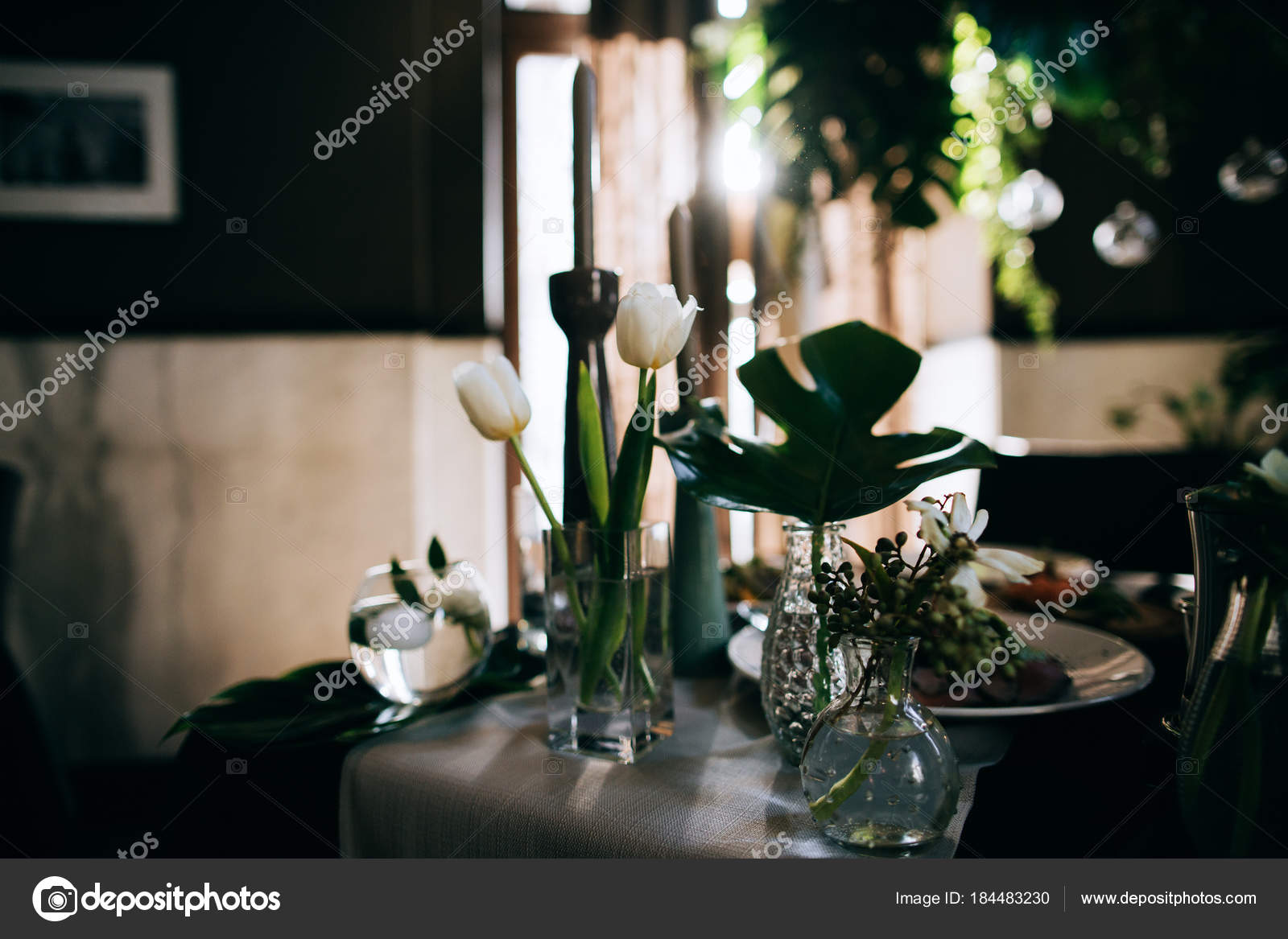 Vyzdoba Restauraci Pro Svatebni Hostiny Stock Fotografie C Beorm