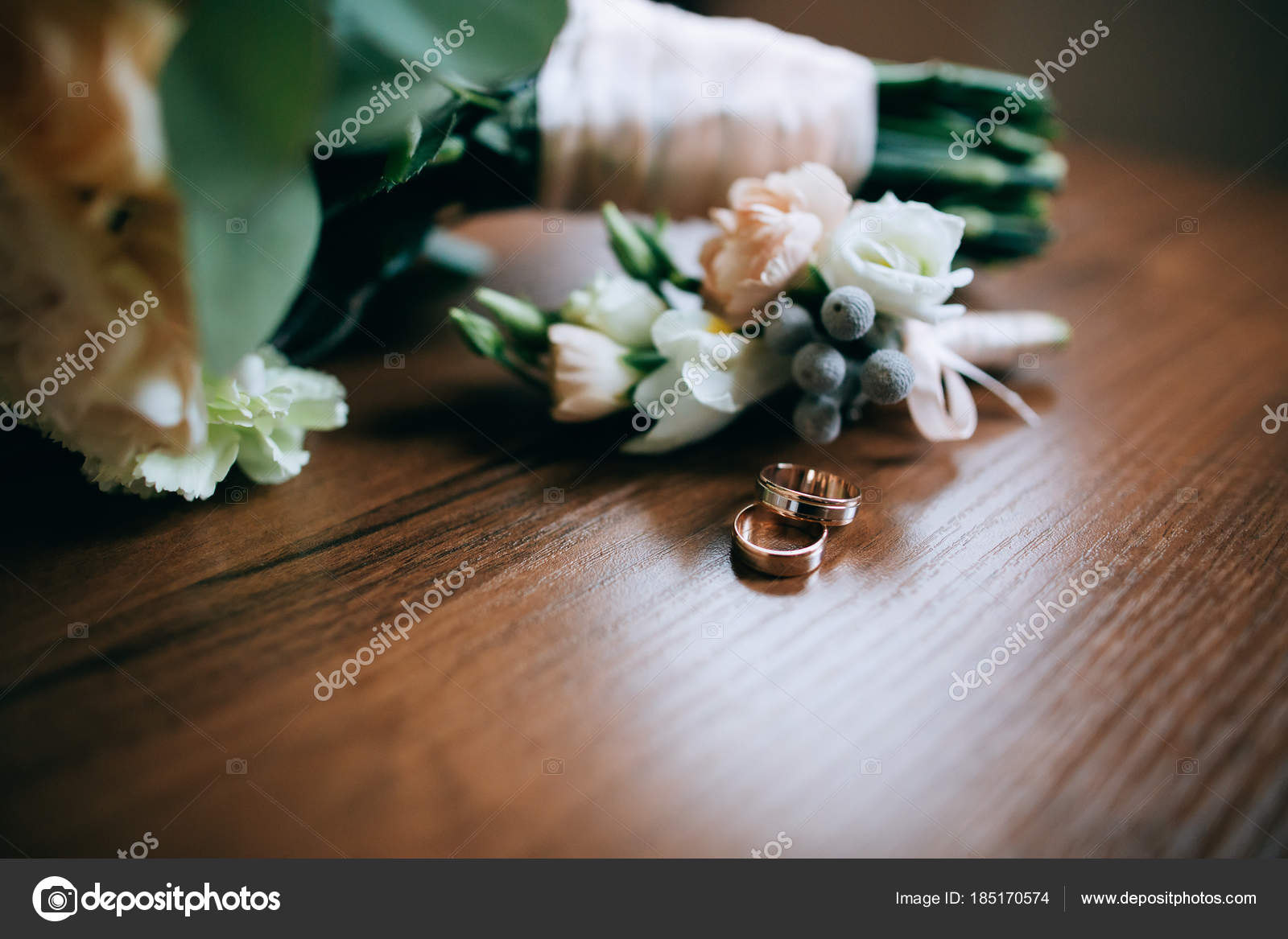 photo engagement with wedding bouquet rings flowers stock and of