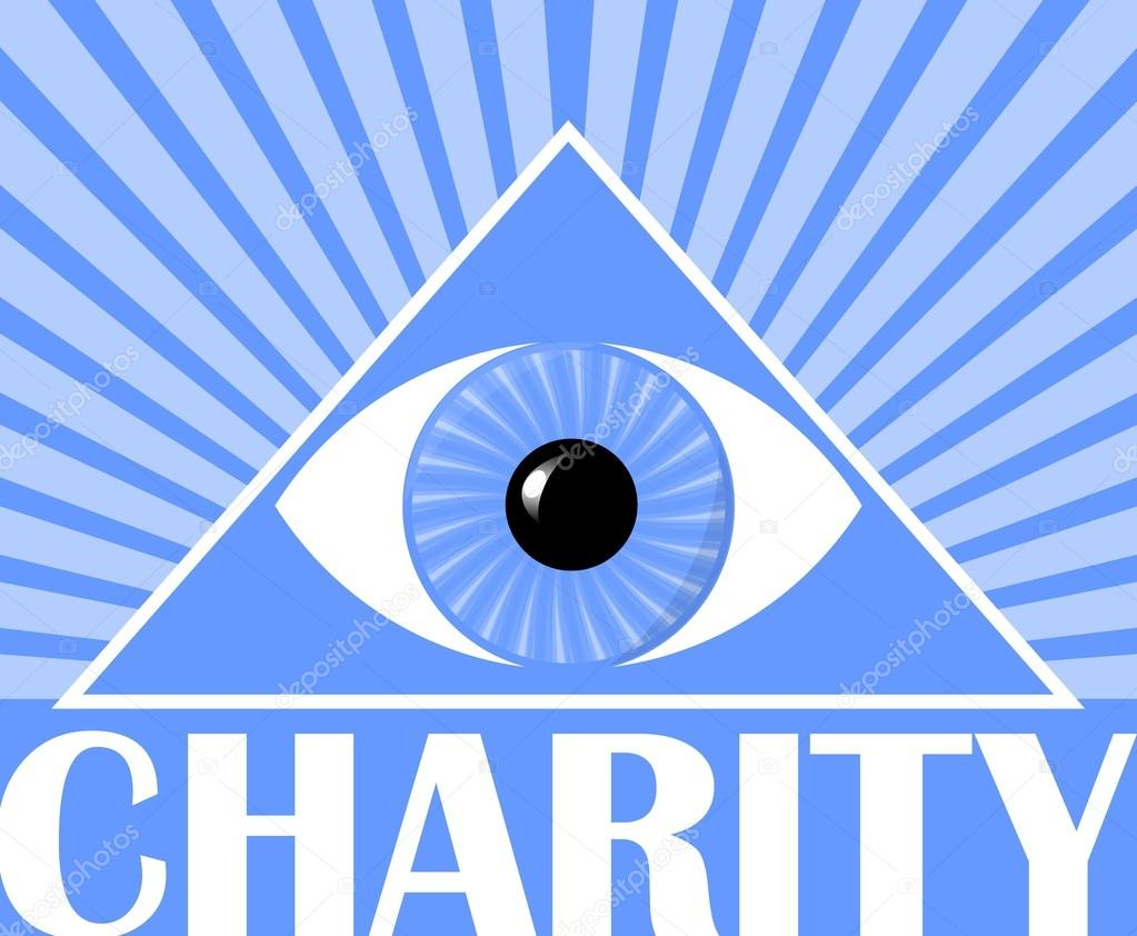 Charity flyer with a symbol of gods eye in triangle blue charity flyer with a symbol of gods eye in triangle blue background with white rays poster for christian charity events vector by shalom3 biocorpaavc