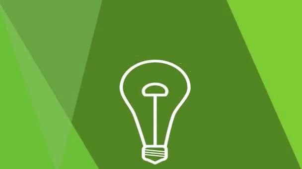 Green power video reklama, intro. Animovaný žárovka bliká na zeleném pozadí, světelný efekt