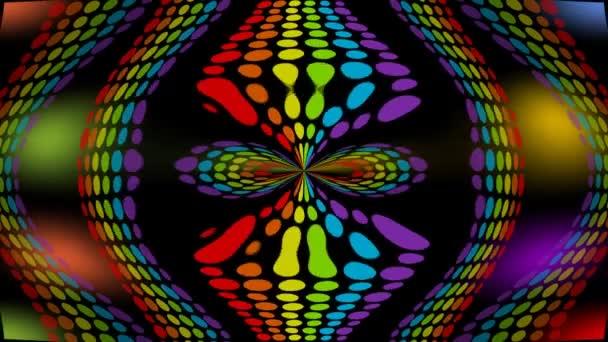 Psychedelické barevné indikátory pohybující se na černém pozadí a vytváření vzorů, bezešvé abstraktní video ve stylu laserového světla show