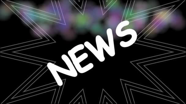 Titolo notizia animato su grunge multicolore spruzzato sfondo. Intro per nuovi prodotti, servizi, informazioni
