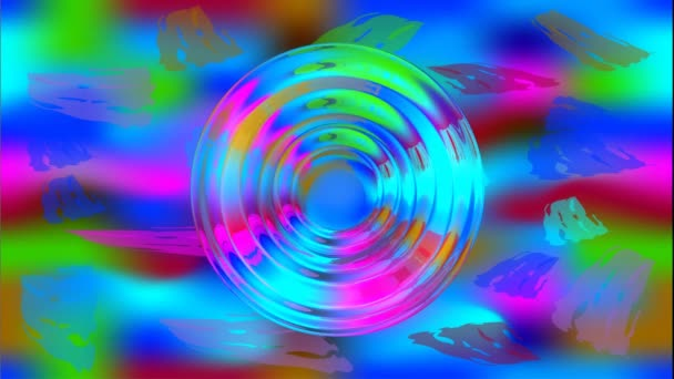Divoké barevné psychedelické abstraktní video s Pohyblivý kruh tvary připomíná barevné želé. Amorfní hustá tekutina pohybuje na barevném pozadí