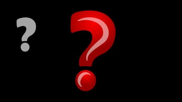 Animierte Quiz Banner mit rotem Fragezeichen, ja melden Sie keine Zeichen Symbole