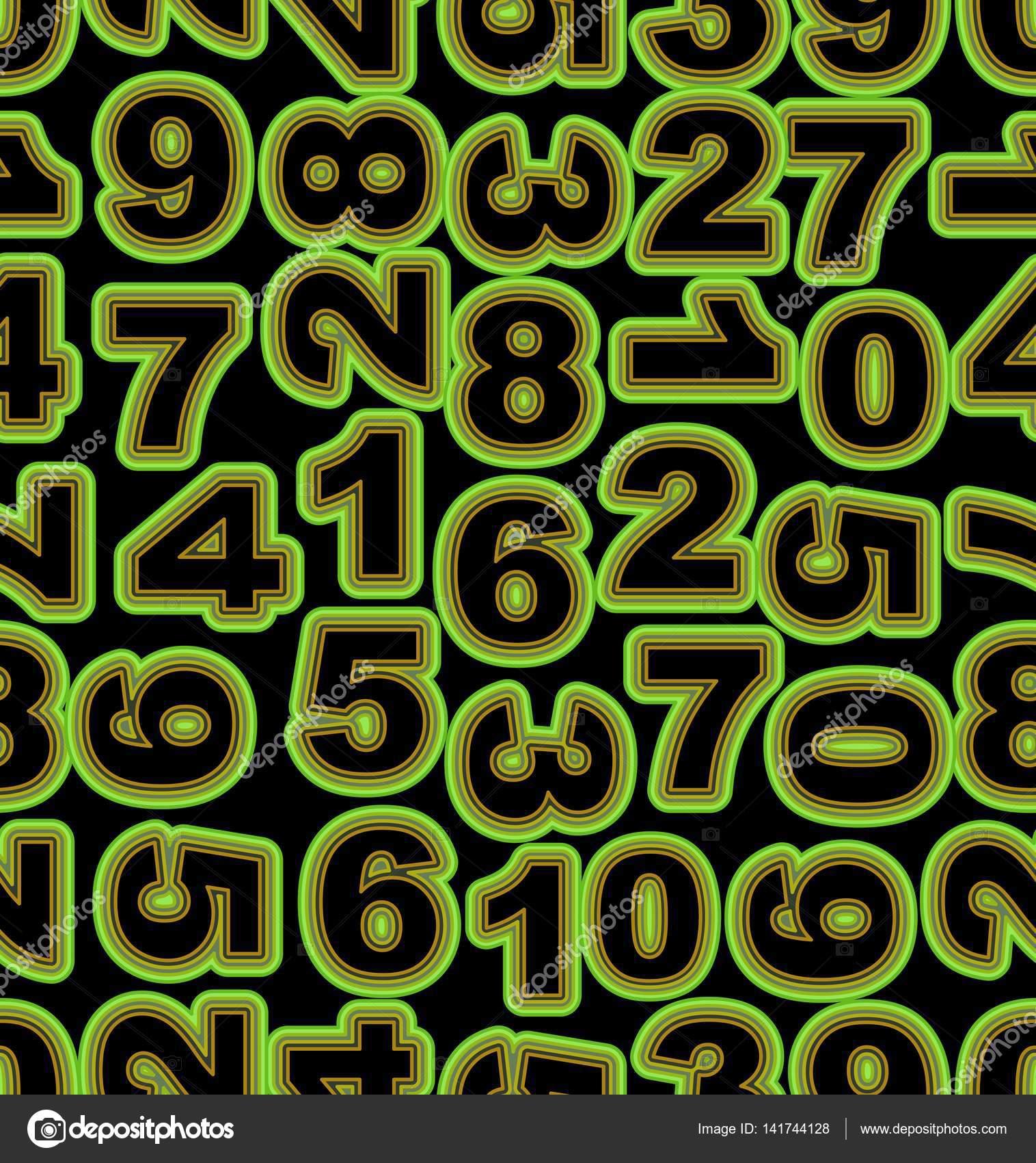 Numero Di Neon In Verde Su Sfondo Nero Mattonelle Senza Cuciture