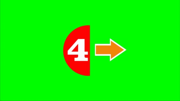 Countdown form five to zero, white number in red semicircle and arrows