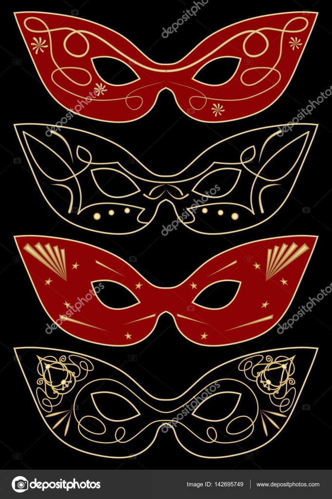 carnival masks template set of four graphic concepts stock vector