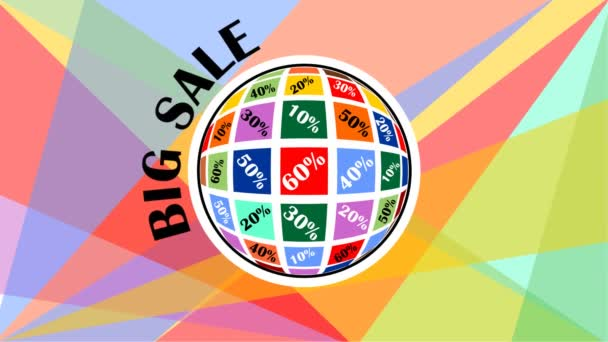große Verkaufsanzeige mit Kugel, Planet mit Rabattanteil und rotierendem Titel, vielfarbiger polygonaler Speck