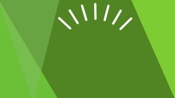 Animovaný žárovka zelená energie otáčení a blikání na nazelenalé geometrické pozadí, bílá kresba, téma ekologie