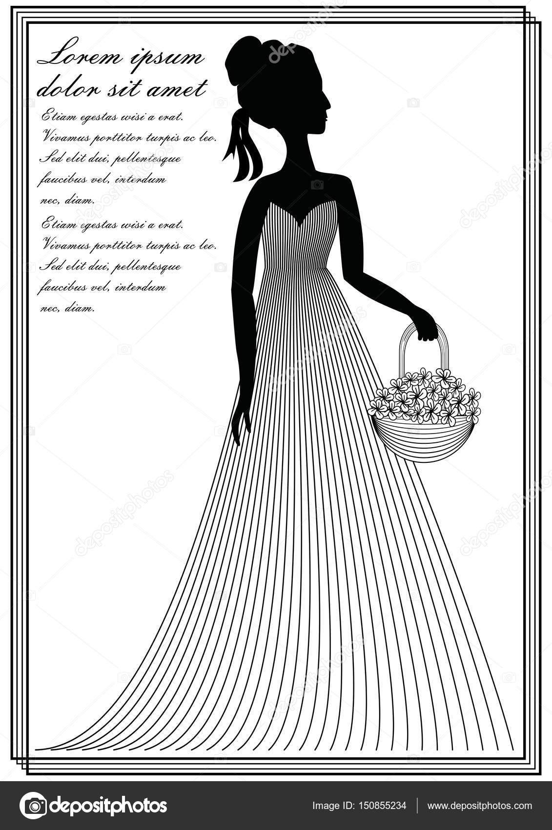 Dame mit Blume Korb, monochrome Linie Kunst Zeichnung im ...