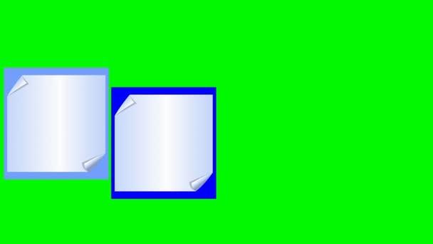 Video s papírem ohnuté poznámek sticky notes na barevné pozadí, zelená obrazovka zahrnuta spodní třetiny