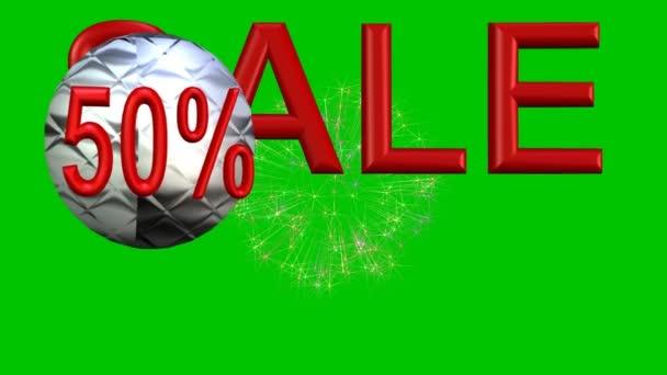 Velký výprodej bazar s červenými 3d písmeny, skákání kovové koule slevu 50 procent label, ohňostroj na pozadí, zelená obrazovka